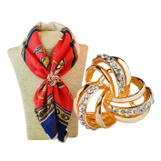 LEORX 3-ring Scarf Shawl Ring Clip with Rhinestone Decorated for Women