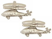 Silver Helicopter Cufflinks by Zennor