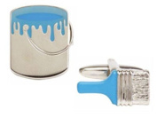 Silver/Blue Paint and Painbrush Cufflinks by Zennor