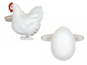 White Chicken and Egg Cufflinks by Zennor
