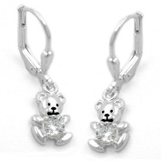 French Hook Earrings with Small Bear Zirconia Silver 925