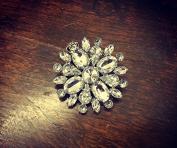 Silver Gem Flower Hairclip and Brooch