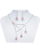 Sarahbridal Women's Rhinestone Wedding Jewellery Pendant Necklace and Earrings Party Sets S15015