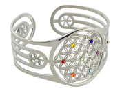 Bangle with Flower of Life Design with. Elements, Edelst. **