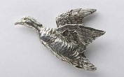 Pewter ~ Wood Duck Flying ~ Lapel Pin / Brooch ~ B008