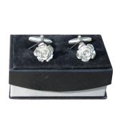 Luxury Handmade Fine Pewter English Rose Cufflinks, by William Sturt Fine Pewter