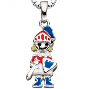 JOBO Children's Pendant - 925 Sterling Silver with A knight Lackeinlagen Red / Blue