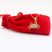 Blue Diamond Club - 18ct Yellow Gold Filled Beautiful Cancer the Crab Necklace with White Crystals 46cm Chain