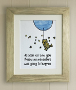 Winnie the Pooh FRAMED QUOTE PRINT, New Baby/Birth, Nursery Picture Gift, Pooh Bear