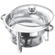 4.5 LITRE STAINLESS STEEL ROUND CHAFING DISH SET ROUND TABLE TOP FOOD WARMER NEW