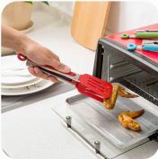 Set of 2 Practical Food Tongs Clips Roast/ Bread/ Steak/ Fruit Clamp, Red
