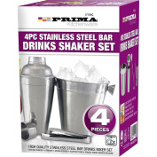 4PC COCKTAIL SET SHAKER BAR MIXER STAINLESS STEEL KIT DRINKS ICE BUCKET HOME NEW