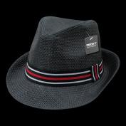 Decky 530-PAP-BLK-06 Paper Straw Fedora Hat Black - Small & Medium