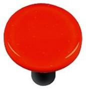 Hot Knobs HK1002-KRB Tomato Red Round Glass Cabinet Knob - Black Post