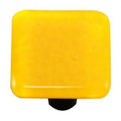 Hot Knobs HK1012-KA Sunflower Yellow Square Glass Cabinet Knob - Aluminium Post
