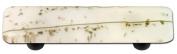 Hot Knobs HK3009-PB Mardi Gras Vanilla with White Rectangle Glass Cabinet Pull - Black Post