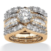 PalmBeach Jewellery 544586 3 Piece 5.62 TCW Round Cubic Zirconia Bridal Ring Set in 18k Gold over Sterling Silver