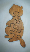 THE PUZZLE-MAN TOYS W-1124 Wooden Educational Jig Saw Puzzle - Beaver