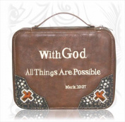 Montana West 116476 Bible Cover Leather With God All Things Are Possible Medium Brown