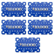 Bry Belly CPDP-$10000 5 5 Denominated Poker Plaques Blue $10000