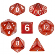 Bry Belly GDIC-1106 7 Die Polyhedral Dice Set in Velvet Pouch- Translucent Red