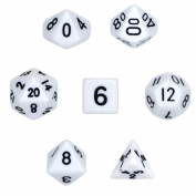 Brybelly GDIC-1102 7 Die Polyhedral Dice Set in Velvet Pouch- Opaque White