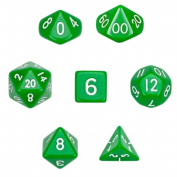 Brybelly GDIC-1103 7 Die Polyhedral Dice Set in Velvet Pouch- Opaque Green