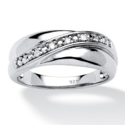 PalmBeach Jewellery 434039 Mens 1/10 TCW Round Diamond Wedding Band in Platinum over Sterling Silver Size 9
