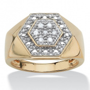 PalmBeach Jewellery 4916011 Mens .10 TCW Round Diamond 18k Gold over Sterling Silver Hexagon-Shape Ring Size 11