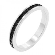 Icon Bijoux R01147R-V03-05 . Stackables With Jet Black Crystal Ring (Size