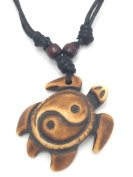 Carved YIN YANG TURTLE Necklace - Surfer - Brown