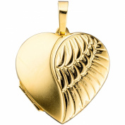 JOBO Medallion Heart Design 333 Yellow Gold Partially Matte with opening for 2 Photos
