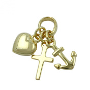 Trailers Faith-Love-Hope Gallay 9Kt Gold, Indoor Eyelet: 2 x 3 mm, Weight: 0.4 G, Alloy