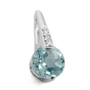 Gallay, Blue Topaz, Cubic Zirconia Pendant with 925 Silver Eyelet interior: 5 x 1 MM, Weight: 0,67 Alloy