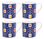 4 x Orla Kiely Linear Stem Mugs - Blue