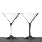 Pair of Martini Cocktail Glasses made from Unbreakable Polycarbonate. Ideal for celebrations and something a little different in a crystal clear finish.