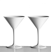 Pair of White Martini Cocktail Glasses made from Unbreakable Polycarbonate. Ideal for celebrations and something a little different in a satin white finish.