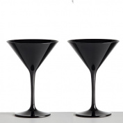 Pair of Black Martini Cocktail Glasses made from Unbreakable Polycarbonate. Ideal for celebrations and something a little different in a satin black finish.