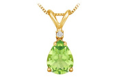 Fine Jewellery Vault UBPDVPE86PRAGVY August Birthstone Peridot Teardrop Pendant with Cubic Zirconia in Gold Vermeil over Silver