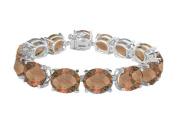 Fine Jewellery Vault UBBR108W14ST 14K White Gold Prong Set Oval Smoky Quartz Bracelet with 50 CT TGW