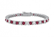 Fine Jewellery Vault UBUBRAGRD1311000CZR Sterling Silver Round Created Ruby and Cubic Zirconia Tennis Bracelet 10 CT TGW