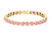 Fine Jewellery Vault UBBRAGVY600BZPT Created Pink Topaz Bezel Tennis Bracelet Twenty Five Carat on 18K Yellow Gold Vermeil St