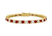 Fine Jewellery Vault UBBRAGVYRD131500CZGR Tennis Bracelet Garnet and Cubic Zirconia in 18K Yellow Gold Vermeil. 5CT. TGW. 18cm .