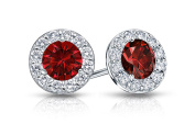 Fine Jewellery Vault UBUERBK150W14CZR Created Ruby and CZ Halo Stud Earrings in 14K White Gold 1.50.ct.tw