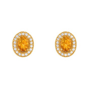Fine Jewellery Vault UBNER40939Y14OV75CZCT November Birthstone Oval Citrine Halo Earrings with CZ in 14K Yellow Gold