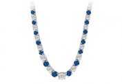 Fine Jewellery Vault UBNK17W14DS 14K White Gold Sapphire Diamond Eternity Necklace 17 CT TGW