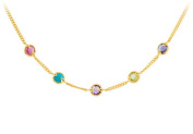 Fine Jewellery Vault UBNKS69697VY18MC 18K Yellow Gold Vermeil Multi Colour Gemstone Necklace 41cm . with 5.1cm . Extensions