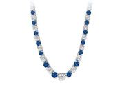 Fine Jewellery Vault UBUNK17W14CZS Graduated Created Sapphire CZ Tennis Necklace in 14K White Gold 17.ct.tw