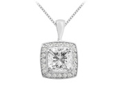 Fine Jewellery Vault UBPDC342W14CZ Cushion cut Cubic Zirconia Pendant in 14K White Gold 5.25 Carat Total Gem Weight