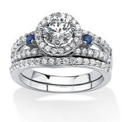 PalmBeach Jewellery 551218 Platinum Over .925 Sterling Silver 1.72 Tcw Cubic Zirconia And Lab Created Sapphire Halo Bridal Set - 8
